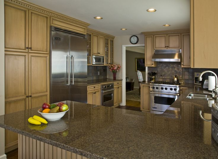 This fall inspiration features maple cabinets with a for Best color for kitchen cabinets for resale