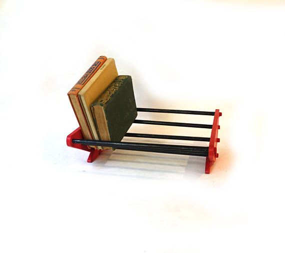Vintage red and black deco style wood rack book holder book