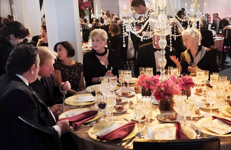 """Table setting at """"Feeling is Liberty"""" black-tie gala."""