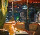 Elmer Bischoff (American, Bay Area Figurative Movement, 1916–1991): Interior with Cityscape, 1969.