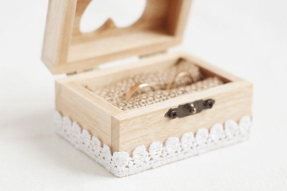 Wooden wedding box with a white lace trim  by MissVintageWedding