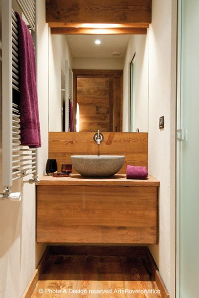Wood and stone bathroom inspiration - Arte Rovere Antico || Photo by Duilio Beltramone for Sgsm.it ||