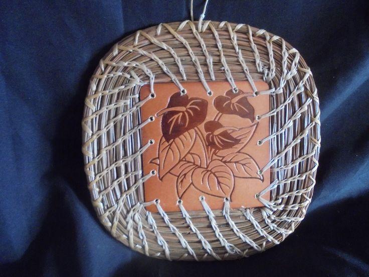 """Pine Needle Wooden Tropical Leaf TRIVET. Square Wooden Leaf TRIVET approximately 7""""."""