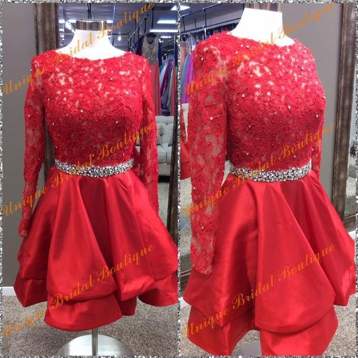 2k16 Jvnbyjovanifashions Homecoming Dresses With Long Sleeves And Beaded Crystals Sash Real Photos Lace Appliques Satin Red Sweet 15 Gowns Homecoming Dress Ideas Homecoming Dress Under 50 From Uniquebridalboutique, $126.52| Dhgate.Com
