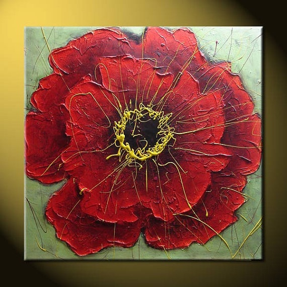Poppy original painting on canvas contemporary modern floral palette knife painting