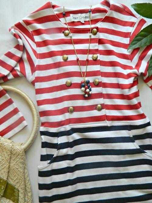 Sail Away Vintage Nautical Bodycon Dress- $24- Miss Molly Vintage