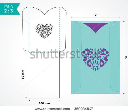 Pocket envelope template with die cut heart shape. Wedding invitation envelope mock up. Paper cutouts. - stock vector