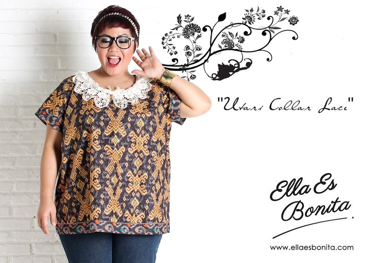 Utari Collar Lace - This collar lace shirt features high quality batik cotton which specially designed for sophisticated curvy women originally made by Indonesian Designer & Local Brand: Ella Es Bonita. Available at www.ellaesbonita.com