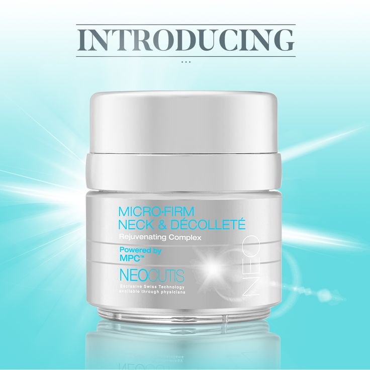 Introducing MICRO•FIRM NECK & Décolleté Rejuvenating Complex powered by MPC – precisely formulated for the delicate skin of the neck, collarbone and bust. Check with your NEOCUTIS skincare provider for availability.