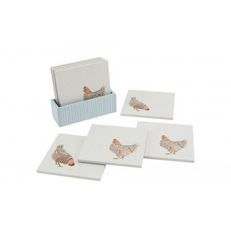 Holly House Set of 4 Chicken Wooden Coasters - £11.50