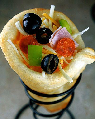 Pizza In A Cone! A way to make pizza even more fun  portable.