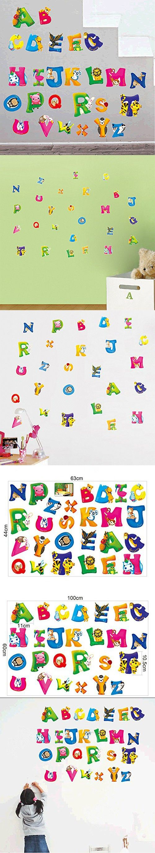 Alrens_DIY(TM)Fun Early Childhood Education English Alphabets Letters Stickers DIY Eco-friendly PVC Vinyl Bedroom Wall Sticker Removable Home Decoration Creative Art Décor Kids Nursery Room Kindergarten adesivo de parede Mural Living Room Decorative Decal