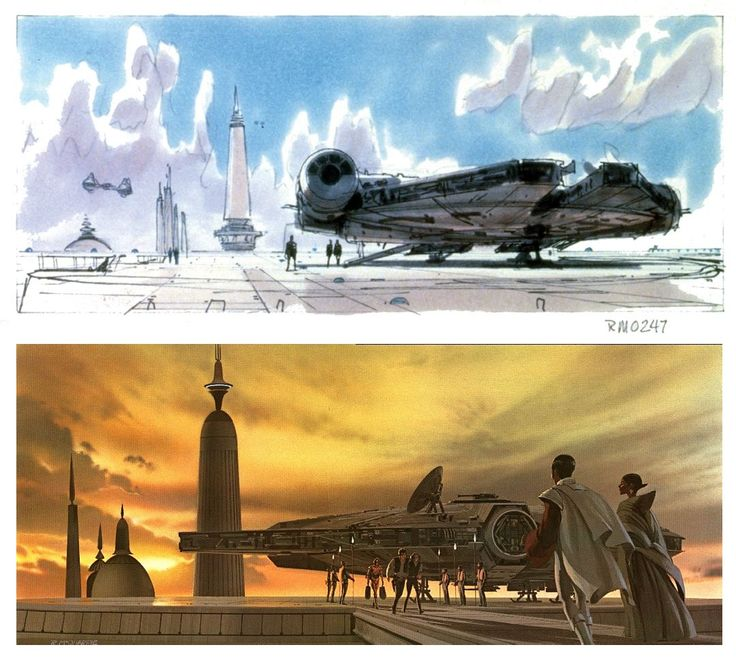 TESB: Ralph McQuarrie's rough sketch (top) shows the Millennium Falcon landing on a Cloud City platform. The final production painting (bottom) includes a glorious sunset, and shows Lando and company approaching the Falcon to welcome them to Bespin.