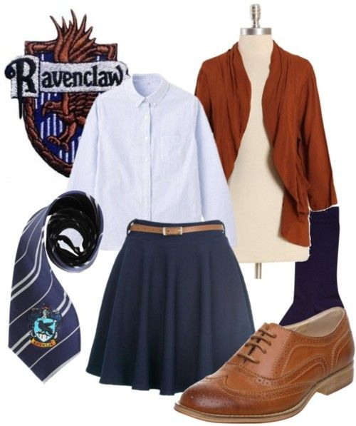 Ravenclaw  Lightweight cardigan, $27Muji long sleeve shirt, $40Denim pencil skirt, £12Falke cotton socks, £9Heeled oxford, £29Harry Potter School Crest Iron on Patch…, $13Original Harry Potter Officially TM Ravenclaw Necktie, $19