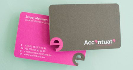 Accentuate Business Card  Creative two sided business card with a die cut logo in the corner.