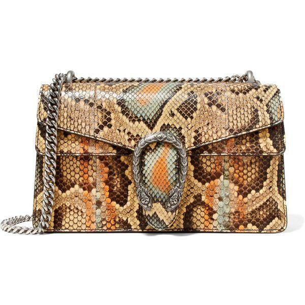 Gucci Dionysus small python shoulder bag ($3,410) ❤ liked on Polyvore featuring bags, handbags, shoulder bags, multi color purse, multi colored handbags, brown shoulder bag, multi coloured handbags and shoulder handbags