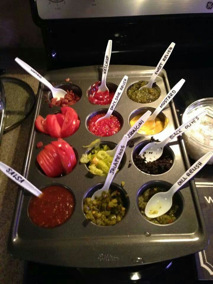 Easy way to serve toppings for tacos, baked potatoes, hamburgers, hot dogs, etc!