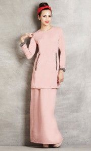 Soft Linen Baju Kurung with Beaded Trim in Pink