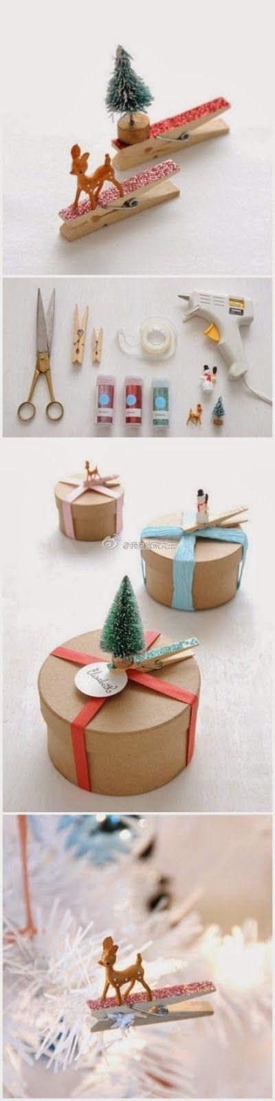 DIY Geschenkeclips für Anhänger oder einfach als Verzierung. So lassen sich Weihnachtsgeschenke schnell pimpen.