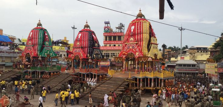 The three Chariots for Lord Jagganath, Lord Balrama and Goddess Subhadra are ready. #RathYatra #RathYatra2016