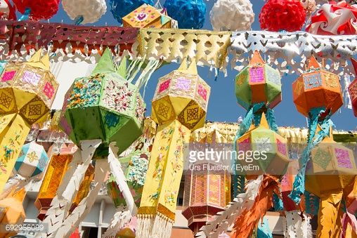 Stock Photo : Low Angle View Of Colorful Lanterns For Sale At Market