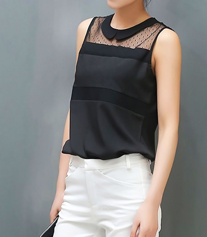 Sleeveless shirt with transparent details