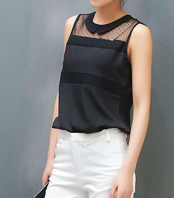 Sleeveless shirt with transparent details