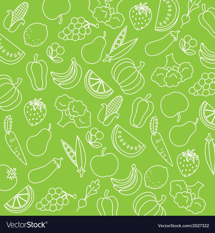 Background fruits and vegetables vector image on