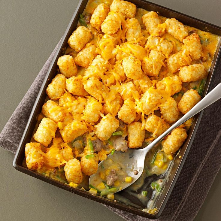 Tater Tot Casseroles Recipe -Ground beef, sausage, cheese, and, of course, Tater Tots make this homey casserole a crowd-pleaser. Cayenne pepper and hot Italian sausage give it a pleasant kick. —Ryan Jones, Chillicothe, Illinois