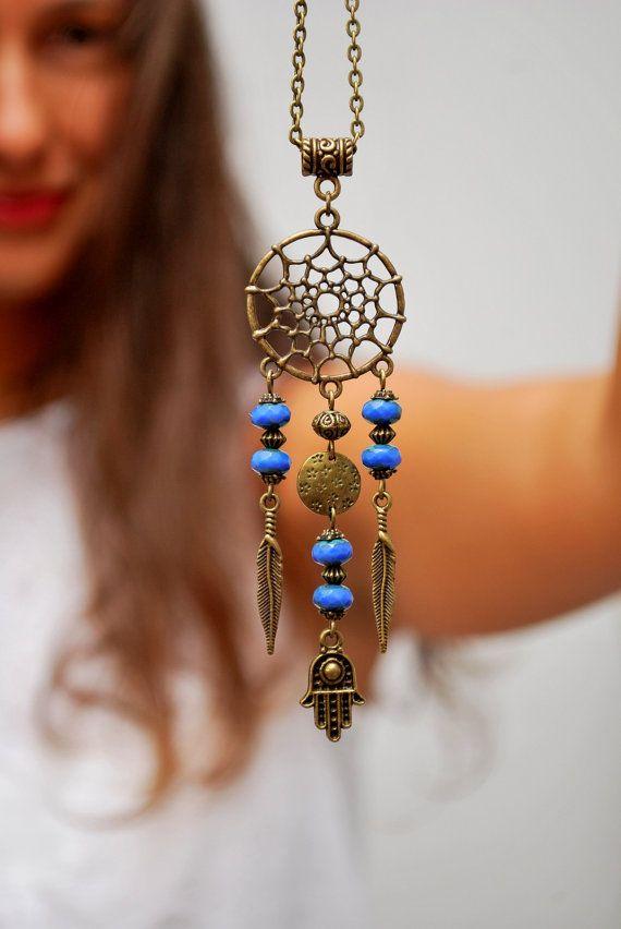 Dream Catcher necklace, hippie festival necklace, hamsa hand necklace, boho hippie pendant, namaste jewelry, good luck. Dreamcatcher.