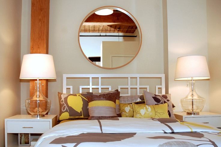 Love the headboard and mirror above the bed (With images
