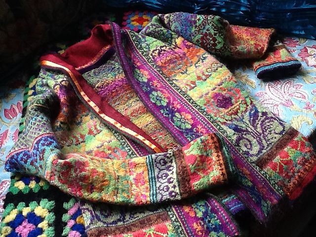 Ravelry: rishi's Nepalese Haley Jacket. Absolutely brilliant colorwork. Maybe someday I'll be brave enough to venture out to create one of my own like this.