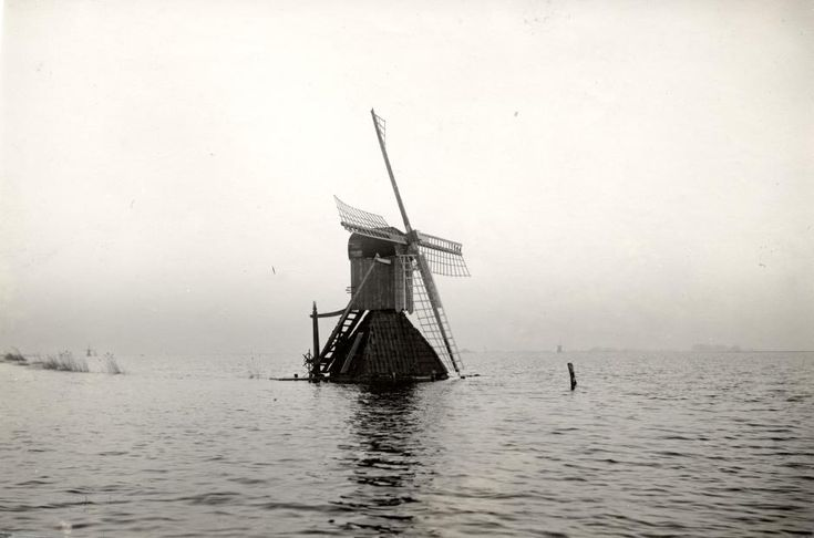 Dutch mill facing the flood of 1926.  Grouw, the Netherland.