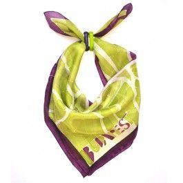Silk scarf with budapest map any glass scarf rings - Budapest selyemkendő üveg kendőgyűrűvel - lime