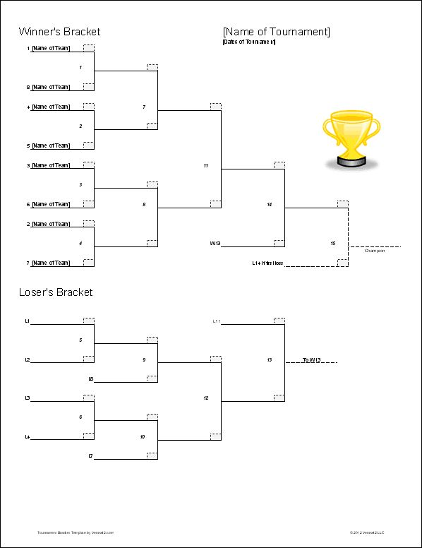 Download the double elimination bracket template from for Table tennis tournament template