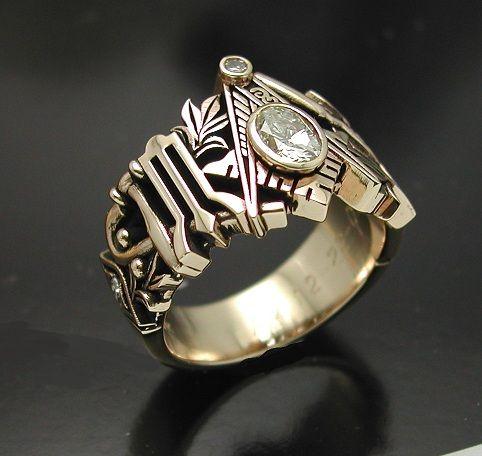 Gold men's ring Masonic, rose gold Masonic ring. Freemason ring.