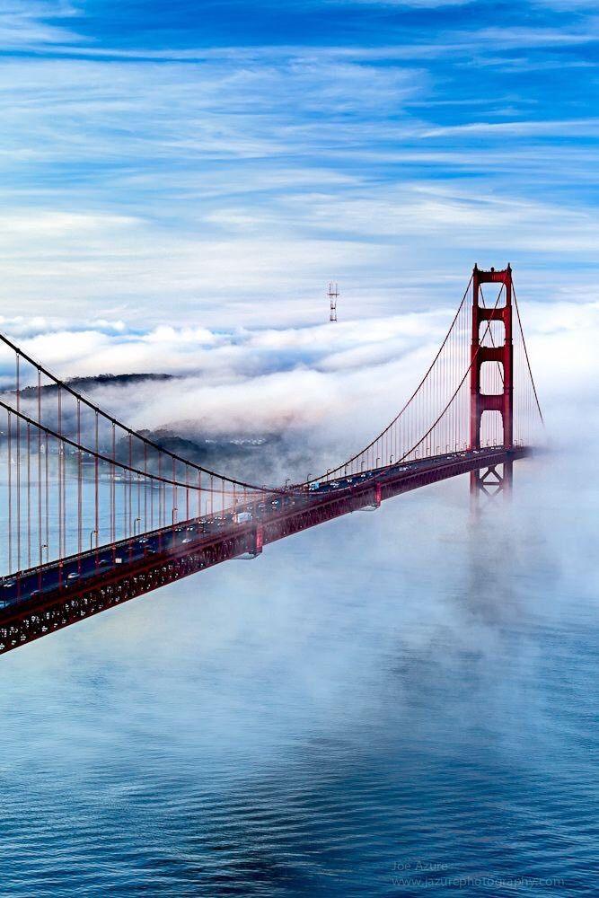 Golden Gate Bridge by Joe Azure #sanfrancisco #sf #bayarea #alwayssf #goldengatebridge #goldengate #alcatraz #california