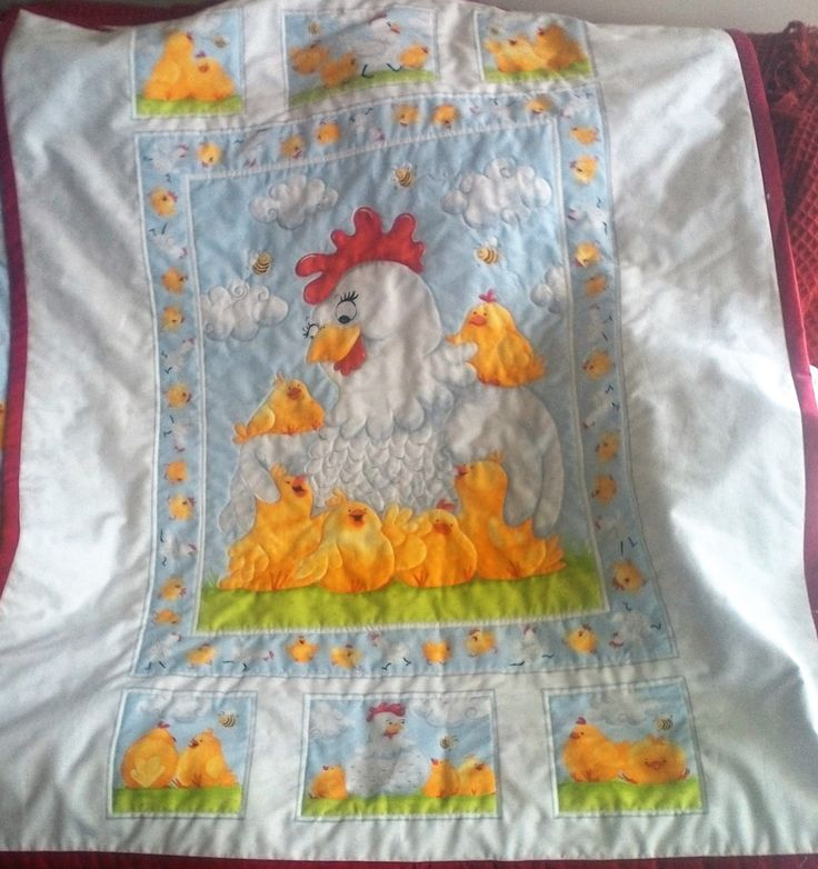 Toddlers Quit, BQ021, Pippa and her chicks, hand made, 100% cotton. by TheQuiltedCheese on Etsy