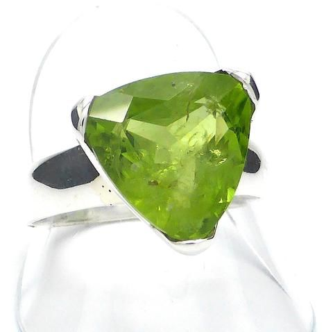 Peridot Gemstone Ring | Faceted Triskellion Triangle | 925 Silver | US Size 10 | Olivine | Leo Virgo Sagittarius | Crystal Heart Melbourne Australia since 1986