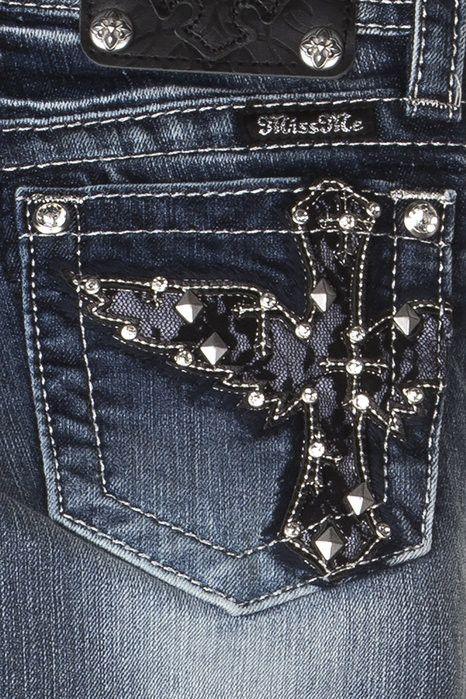 Tween Miss Me Medium Wash Lace Wing Cross Skinny Jeans