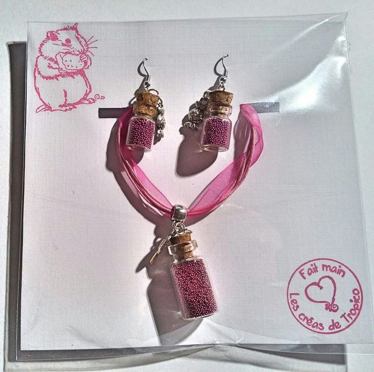 parure collier fiole +boucle d'oreilles mini fiole en verre avec micro perles rose thème gourmandise : Parure par les-creas-de-tropico