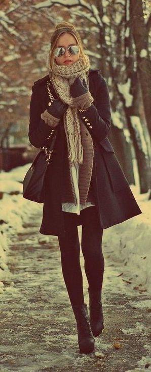 Look d'hiver noir et crème !