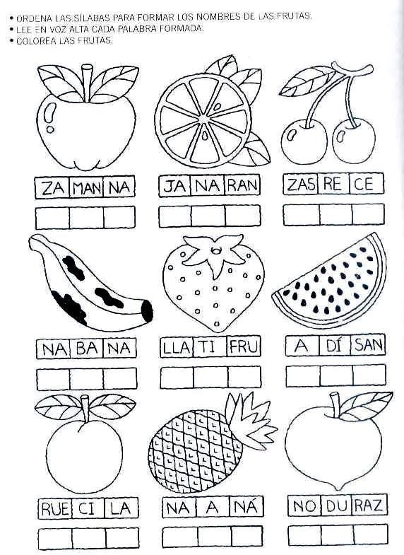 Ejercicios con sílabas, imprimir fichas educativas para niños