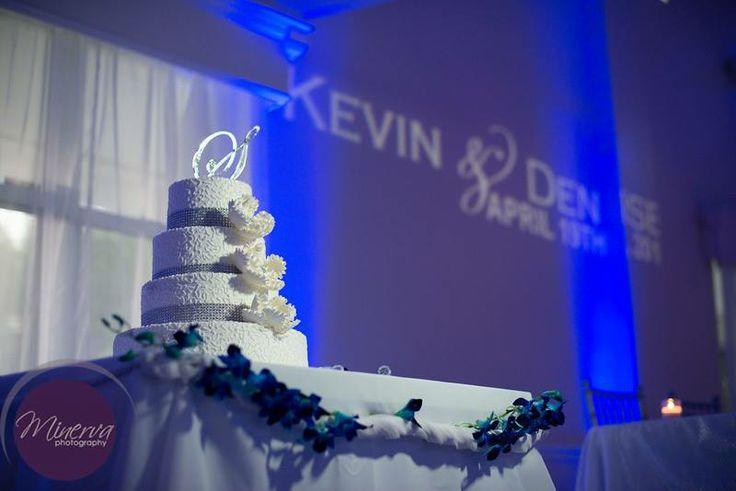 Fabulous #wedding #cake and #custom #gobo #monogram at this #blue #uplighting #wedding #reception ! #diy #fun #ideas #inspiration #celebration #party #unique #rentmywedding By #MinervaPhotography