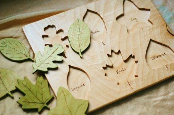 leave types wooden puzzle - handmade - great baby gift idea!