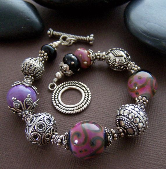 Marrakesh Bracelet Lampwork Glass Bead by StoneStreetStudio, $159.00