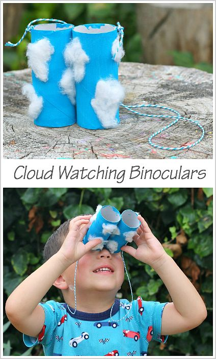Cloud-Themed Toilet Paper Roll Binoculars Craft for Kids- Perfect for a weather unit! ~ BuggyandBuddy.com