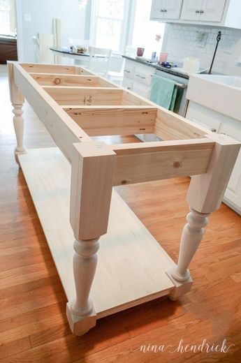 How to Build a DIY Furniture Style Kitchen Island & Free Plans #farmhouse #farmhousedecor #modernfarmhouse #homedecor