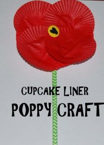 Cupcake Liner Poppy Craft and the history of the MEMORIAL POPPY.
