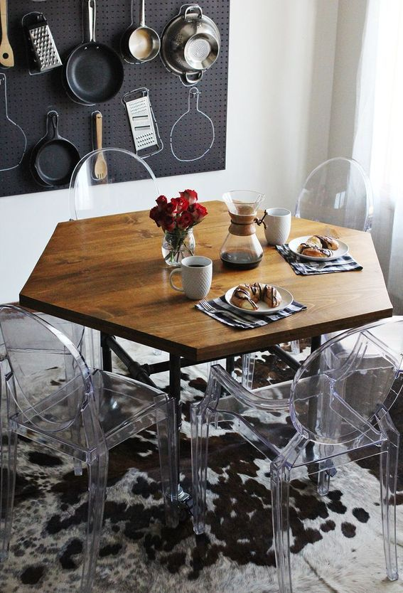 The perfect just add honey company table! How-to: DIY Hexagon Shaped Wooden Dining Table » Curbly | DIY Design Community